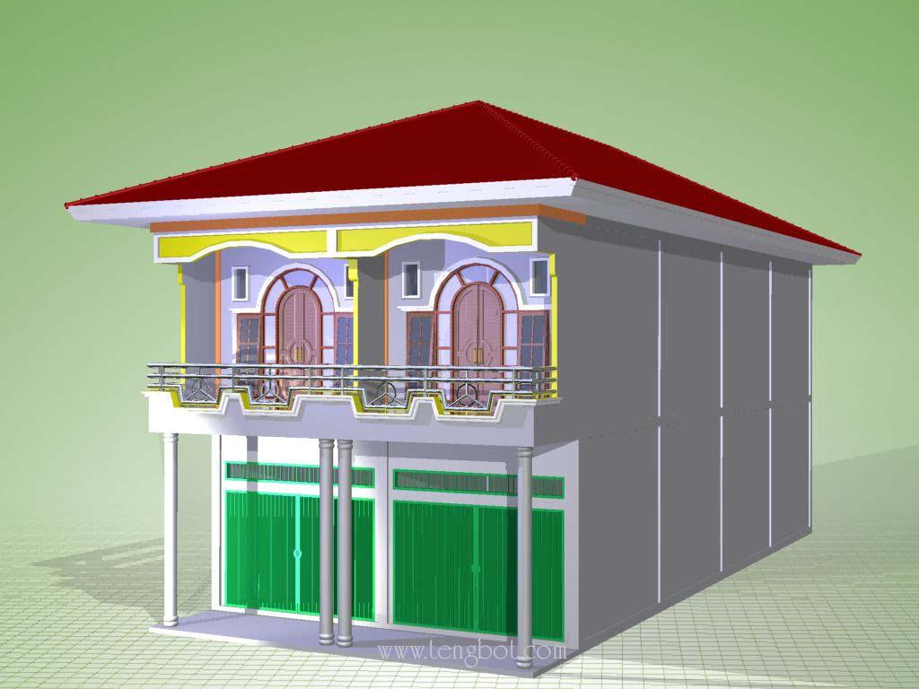 gambar model 3d ruko 2 pintu 2 lantai di bagan sinembah rokan hilir