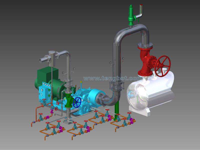 turbine valve installation tengbot 3d mesin pabrik